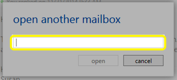 In the open another mailbox text box, type the name of your the resource account.